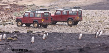 Landrovers on the beach in the falkland islands.