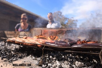 Asado almost ready with the asado vultures hovering with intent....