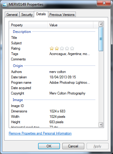 digital photography Properties of a jpg to show IPTC fields - 5 tips on managing digital photographs
