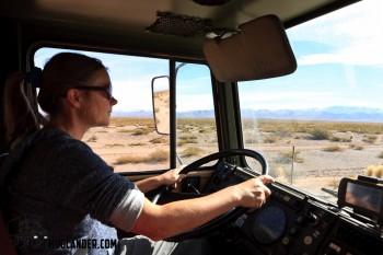 Sarah at the wheel of Unimog