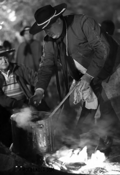 Dinner coming to boil on a gaucho campfire in Salta, Argentina