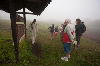 Our hike up the volcano was in pretty damp conditions