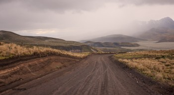 The road down from Cotapaxi brought us into as many clouds as we drove out of.