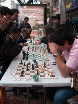 Chess. In a bus shelter as it's raining. Only in Colombia!