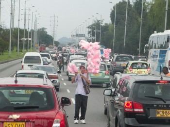 Candy floss seller on the main road.