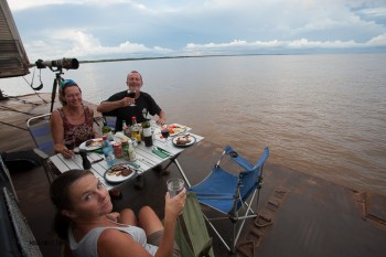 Dinner on the Amazon. Picture this while sailing along at about 20kph to give a gentle breeze. Perfect.