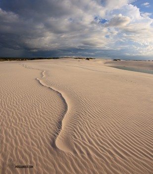 Photo of wind patterns on sand dunes in Brazil